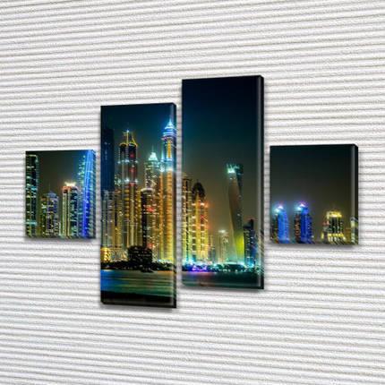 Модульная  картина Город ночью на ПВХ ткани, 85x110 см, (35x25-2/75х25-2), фото 2