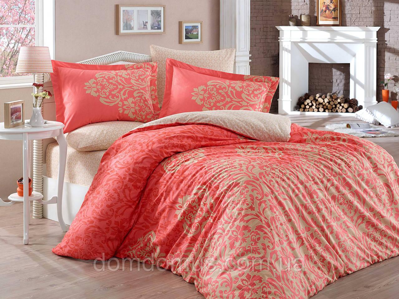 """Комплект постільна білизна двоспальне Євро """"Serenity Red"""" (100 % бавовна) Hobby, Туреччина"""