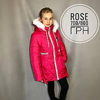 Детская пальто-куртка зимняя малина «Роза» для девочки наполнитель силикон, подкладка флис