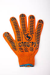 Рукавички робочі трикотажні помаранчеві з ПВХ покриттям