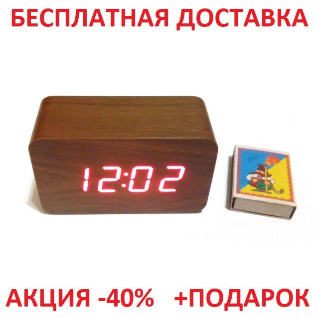 2a8f66f9f4d0 Настольные часы VST-863-5 с синей подсветкой в виде деревянного бруска  Original size