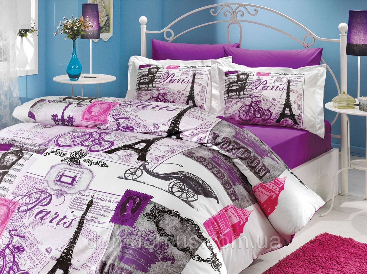 """Комплект постільна білизна двоспальне Євро """"Vicenta Lilac (100% бавовна) Hobby, Туреччина"""