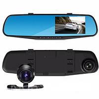 Видеорегистратор зеркало DVR T605 HD с двумя камерами и сенсорным экраном BlackBox 1080p оптом