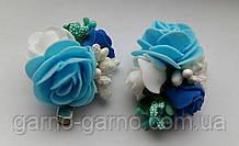 Заколка для волос голубая с розами