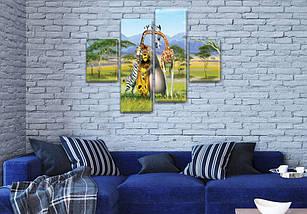 Картина модульная Приключения Мадагаскара , 85x110 см, (35x25-2/75х25-2), фото 3