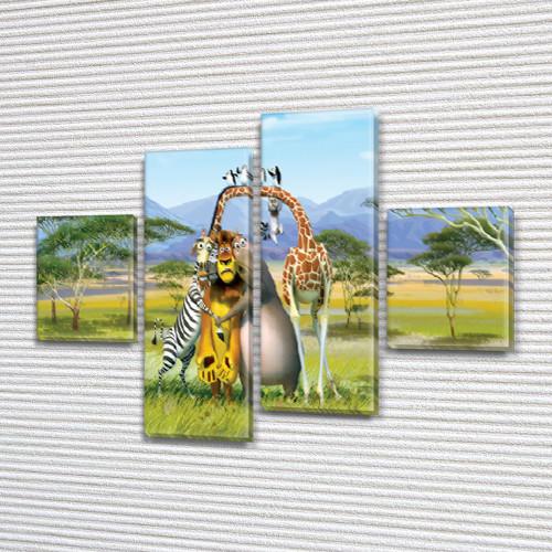 Картина модульная Приключения Мадагаскара , 85x110 см, (35x25-2/75х25-2)