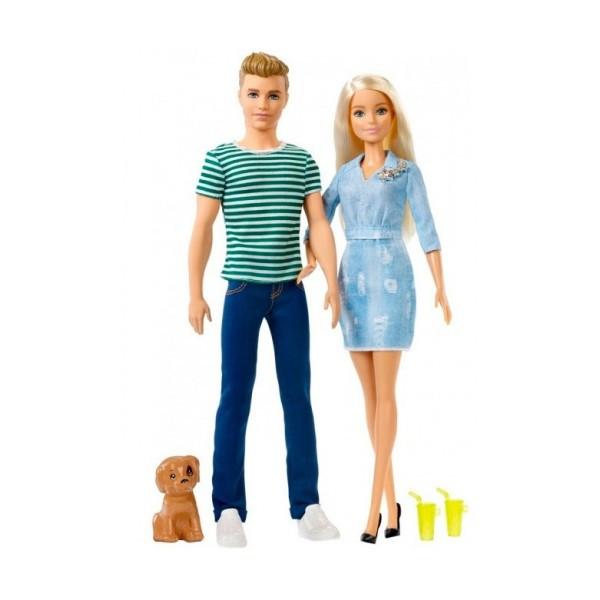 Куклы Барби и Кен на прогулке со щенком, Barbie, Mattel  FTB72