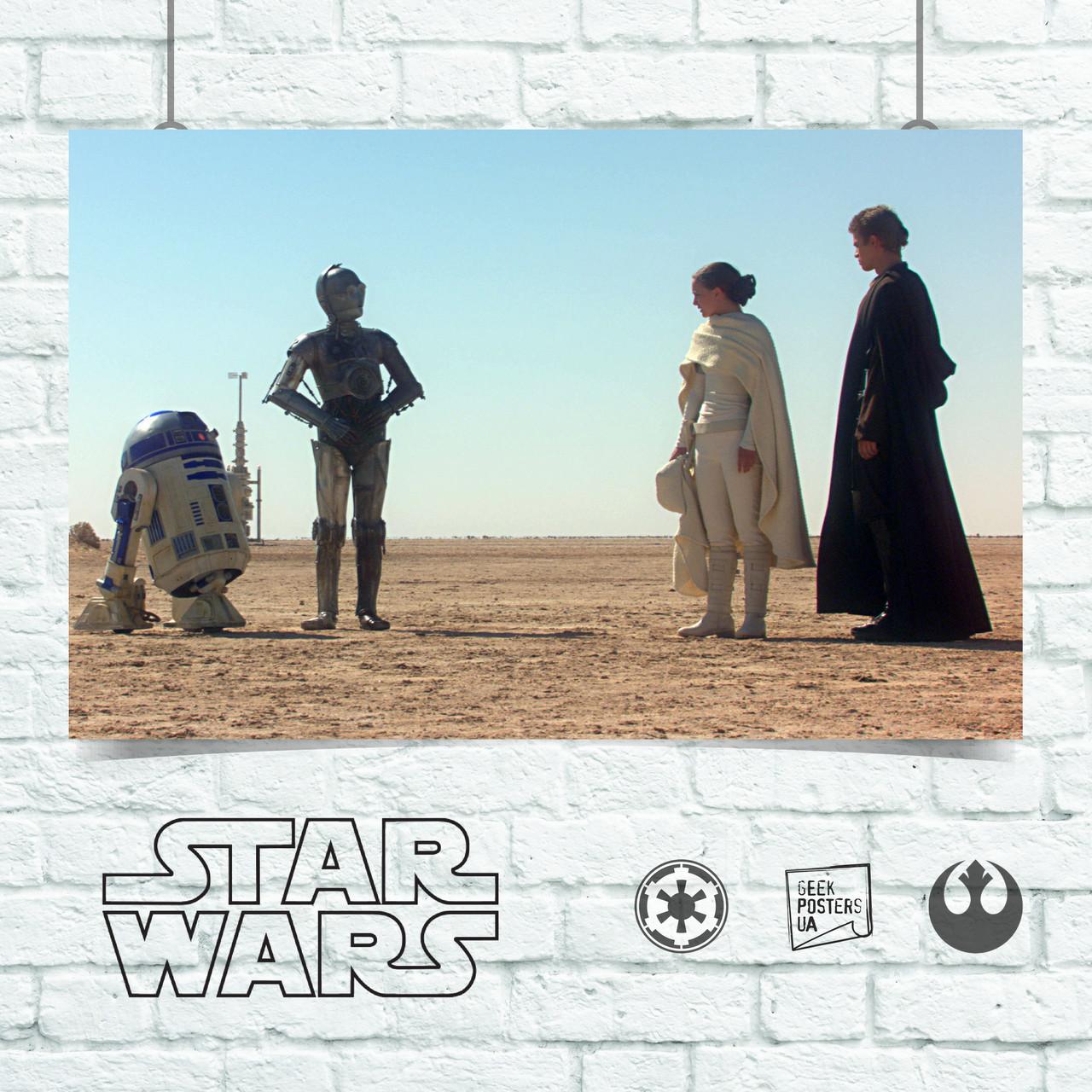 Постер Амидала и Энакин выбирают дроидов, Звёздные Войны, Star Wars. Размер 60x42см (A2). Глянцевая бумага