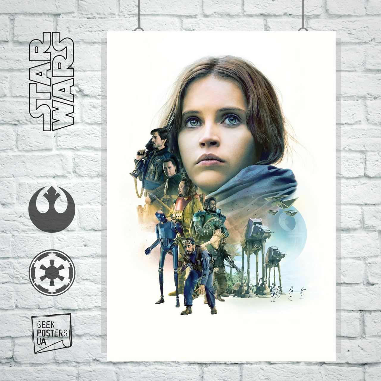 Постер Звёздные Войны: Изгой Один, Star Wars: Rogue One, белый фон. Размер 60x42см (A2). Глянцевая бумага