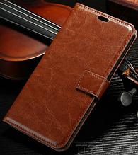 Кожаный чехол-книжка для Samsung Galaxy A5 A520 (2017) коричневый