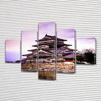 Модульная картина Обитель самурая на Холсте, 95x135 см, (40x25-2/70х25-2/95x25)