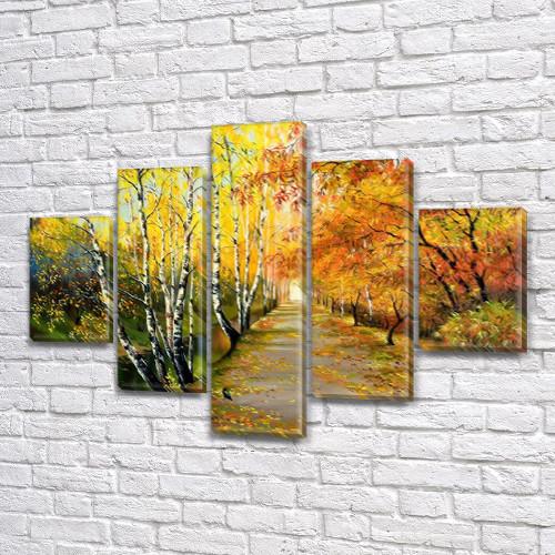 Модульная картина Осенняя парковая алея  на Холсте, 95x135 см, (40x25-2/70х25-2/95x25)