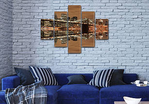 Картина модульная Ночной мост Манхэттена на Холсте, 95x135 см, (40x25-2/70х25-2/95x25), фото 3