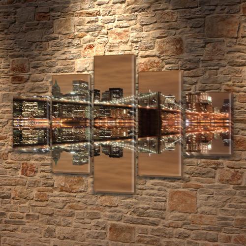 Картина модульная Ночной мост Манхэттена на Холсте, 95x135 см, (40x25-2/70х25-2/95x25)