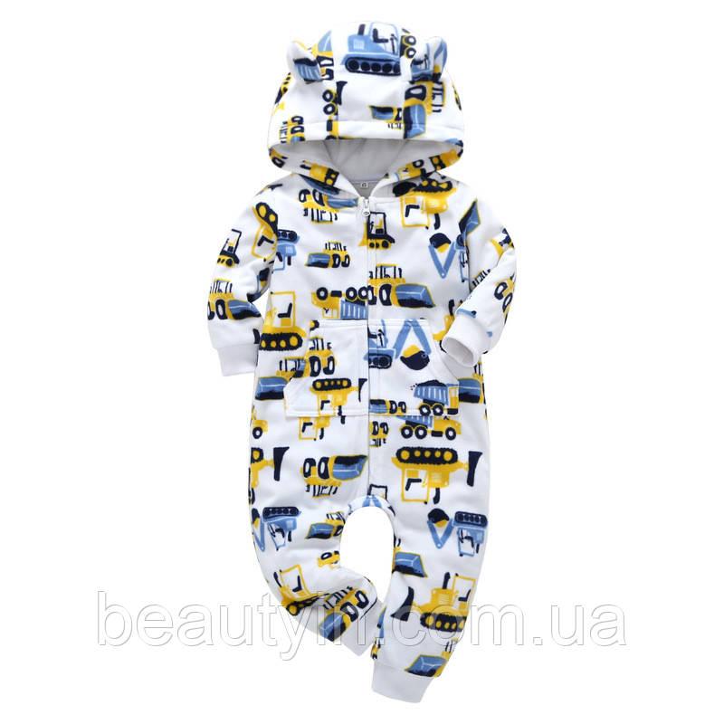 Комбинезон флисовый для мальчика Строительные машины Berni Kids