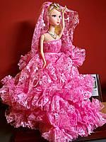 Оригинальный Сувенир Кукла Барби В Свадебном Платье с Фатой Брелок Кукла, фото 1