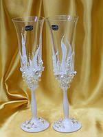 Свадебные бокалы ручной работы в белом цвете