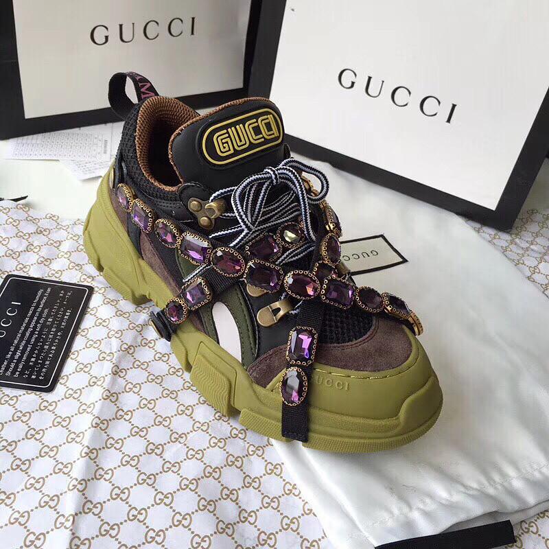 d6e730bd Женские кроссовки Gucci со съемными ремешками и камнями: продажа ...