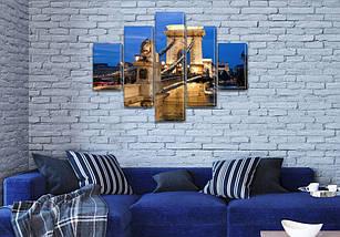 Модульная  картина Цепной мост Сечени  на Холсте, 95x135 см, (40x25-2/70х25-2/95x25), фото 3
