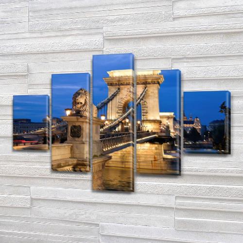Модульная  картина Цепной мост Сечени  на Холсте, 95x135 см, (40x25-2/70х25-2/95x25)