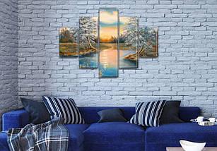 Картина модульная Бархатный закат на Холсте, 95x135 см, (40x25-2/70х25-2/95x25), фото 3
