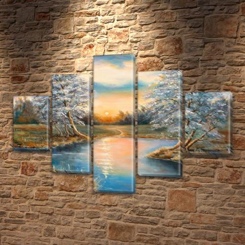 Картина модульная Бархатный закат на Холсте, 95x135 см, (40x25-2/70х25-2/95x25)
