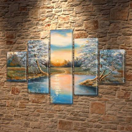Картина модульная Бархатный закат на Холсте, 95x135 см, (40x25-2/70х25-2/95x25), фото 2