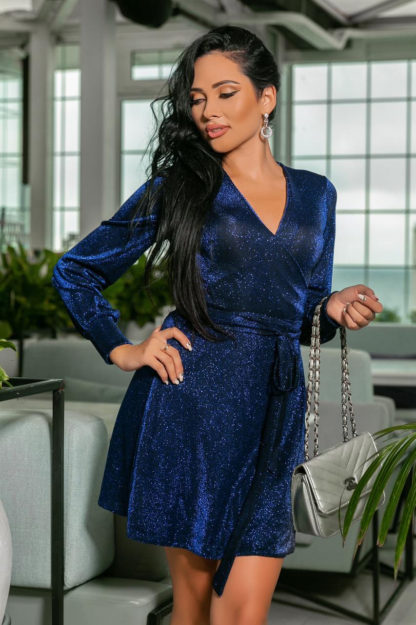 ec662e3acb0 Короткое блестящее платье на запах. Синее