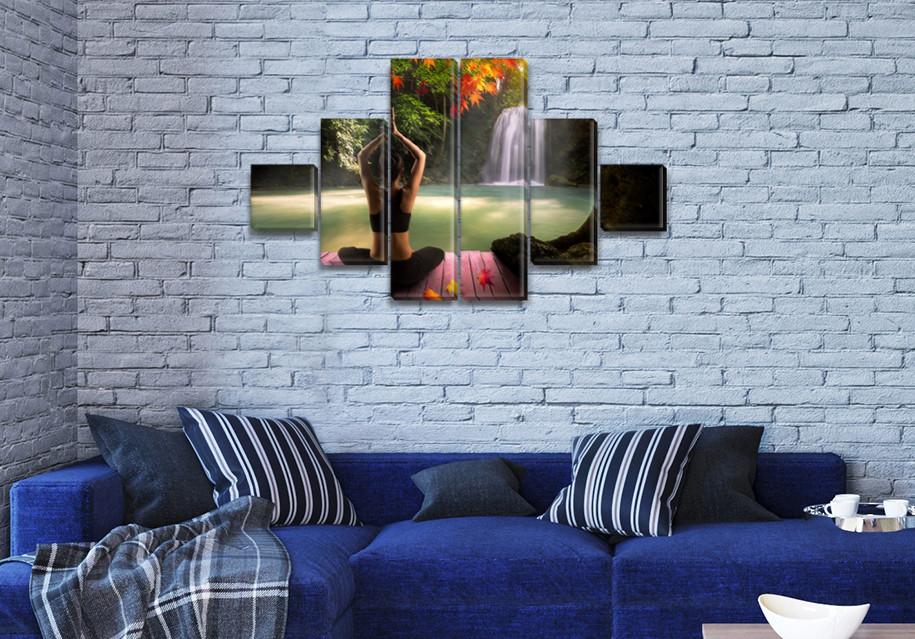 Модульная картина Утренняя йога   на ПВХ ткани, 75x130 см, (20x20-2/45х20-2/75x20-2)