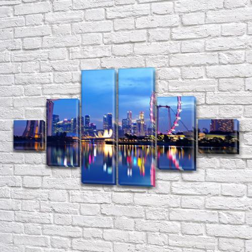 Модульная картина Пейзаж ночного города на ПВХ ткани, 75x130 см, (20x20-2/45х20-2/75x20-2)