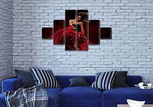 Модульные картины в спальню на ПВХ ткани, 75x130 см, (20x20-2/45х20-2/75x20-2), фото 3