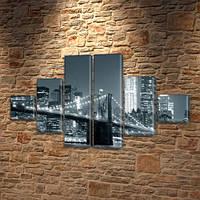 Картина модульная Мост большого города на ПВХ ткани, 75x130 см, (20x20-2/45х20-2/75x20-2)