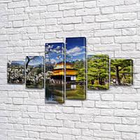 Модульная картина Дом в саду у реки на ПВХ ткани, 80x135 см, (30x20-2/40х20-2/75x20-2)