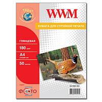 Фотобумага wwm глянцевая 180г/м кв, a4, 50л (g180.50)