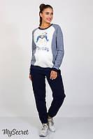 Теплые спортивные брюки для беременных SOHO WARM, синие, фото 1
