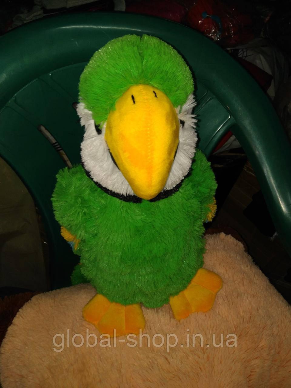 Мягкая игрушка - ПОПУГАЙ АРА 40 см, зелёный
