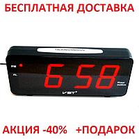 Стильные часы с будильником VST-763T  , настольные, светодиодная, белая подсветка, оригинальный дизайн
