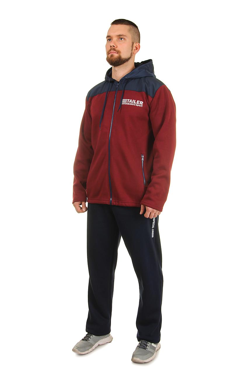 Теплый мужской  спортивный костюм Tailer из трикотажа и плащевки сезон зима Удлиненная куртка!