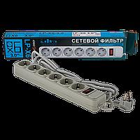 Сетевой фильтр LogicPower 6 розеток 3,0 м серый (LP-X6), фото 1