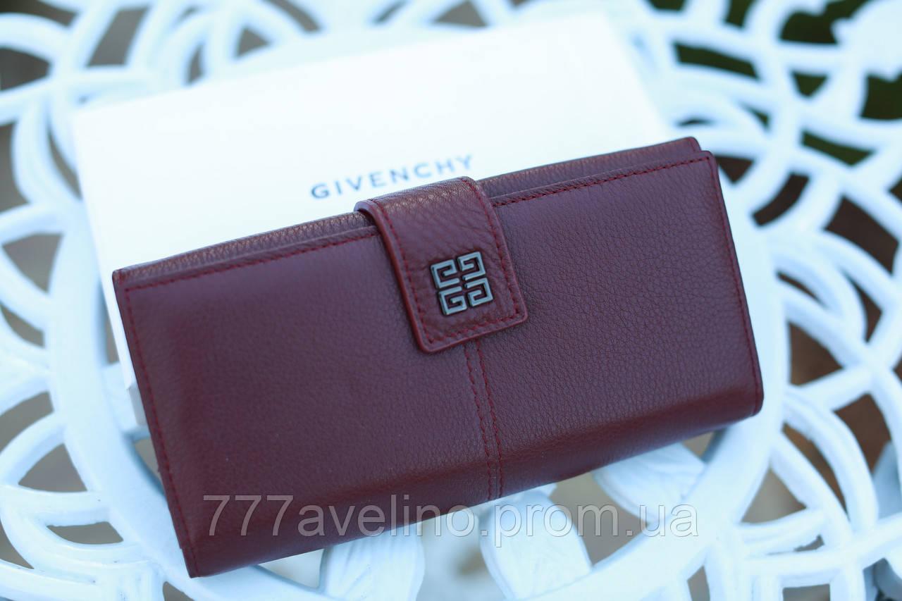 Кошелек женский брендовый  Givenchy кожаный бордовый