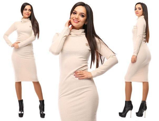 23ccde9c3fd Женское теплое платье миди трикотаж ангора ниже колена бежевое - Стильная  женская одежда оптом