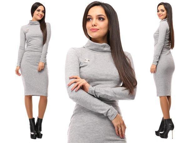 895c3f2cd49 Женское теплое платье миди трикотаж ангора ниже колена серое - Стильная  женская одежда оптом