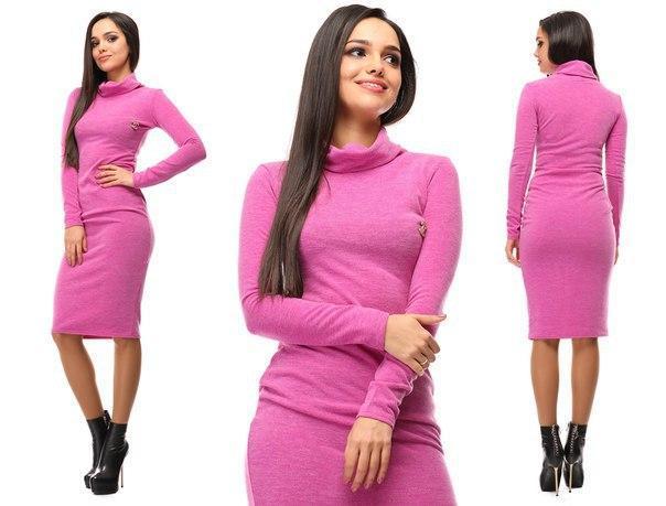 8bad38b13a6 Женское теплое платье миди трикотаж ангора ниже колена розовое - Стильная  женская одежда оптом