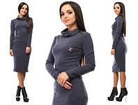 bc330c156e4 Женское теплое платье миди трикотаж ангора ниже колена серое