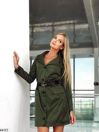 Женское платье -рубашка цвет хаки размеры:42-44, 44-46, фото 2
