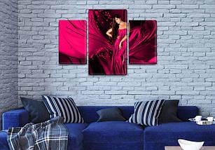 Модульная  картина Девушка в бордовом платье  на Холсте, 80х120 см, (55x35-2/80x45), фото 3