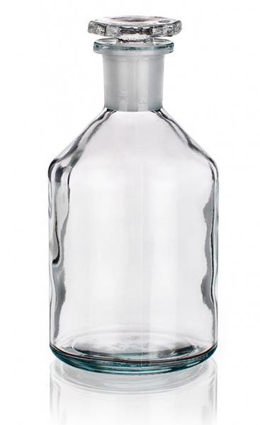 Бутыль для реактивов с пришлифованной пробкой, узкое горло, светлая 30 мл, стекло