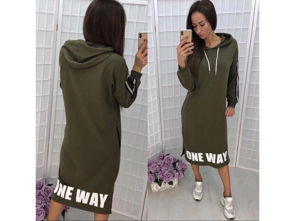 4611373ec0b Женское спортивное платье с капюшоном One way   цвет хаки   размер 42-46