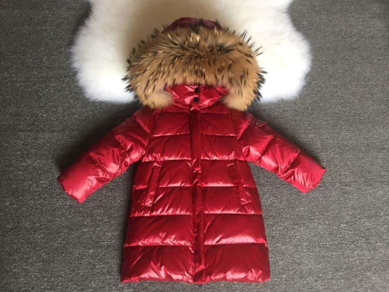 Детская курточка на пуху Lie Bei красная с мехом енота, Зимняя детская куртка, пуховик детский
