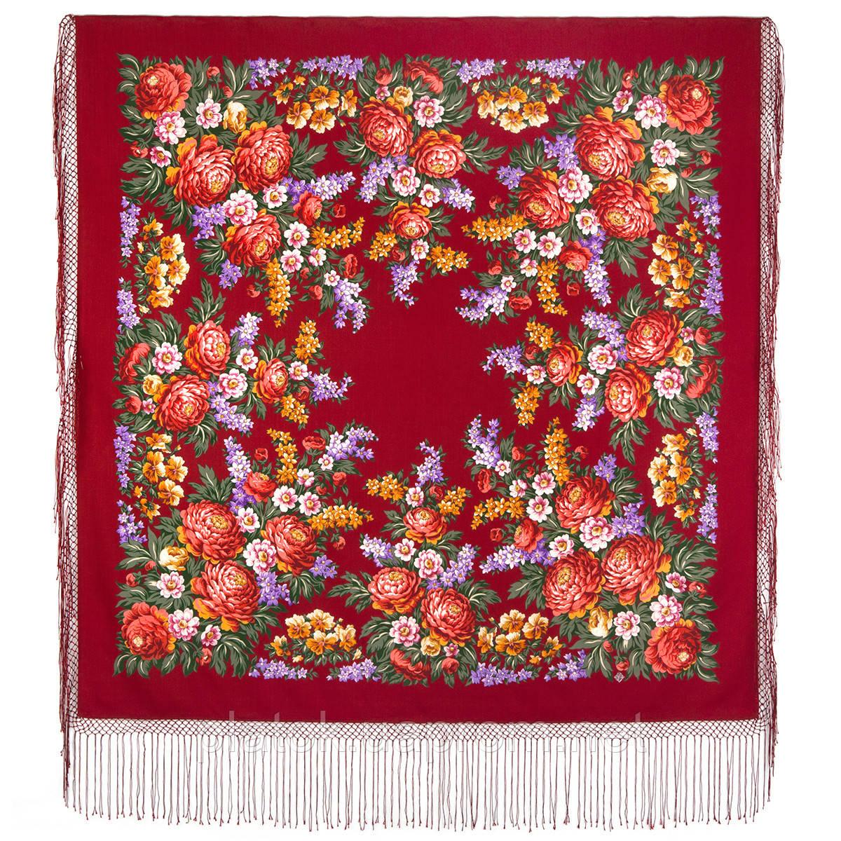 День Победы 235-6, павлопосадский платок (шаль) из уплотненной шерсти с шелковой вязанной бахромой